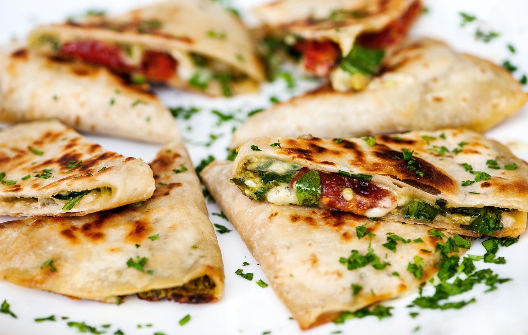 arugula-brie-sun-dried-tomato-quesadillas-with-pesto