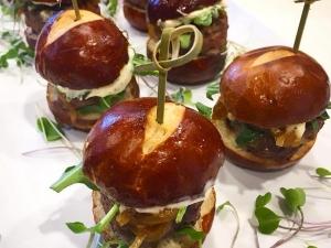mini-beef-sliders-angus-beef-roasted-garlic-basil-aioli-sweet-caramelized-onions-organic-baby-arugula-pretzel-bun