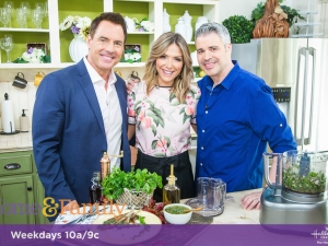 "Mark Steines and Debbie Matenopoulos welcome actor Peter Porte from the Hallmark Channel original movie, ""Love, Once and Always."" Country singer Craig Morgan, his wife Karen, and his daughter Aly from Up TV's"